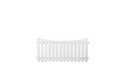 """5 x Kunststoff-Zaun / Zaun-Latten aus Kunststoff weiß im Maß 180 x 80 auf 70 cm - Tiefbogen - ( Breite x Höhe ) """"München"""" aus UV-beständigen Fensterkunststoff als Set"""