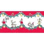 Michael Miller MM563 Stoff - Weihnachtsmann Bordüre rot -