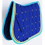 Professionelle Equine Pferd Gesteppt Englisch Sattel Pad Trail Vorgeformt 72Vorgeformt, Royal Blue Yellow Turquoise, 24