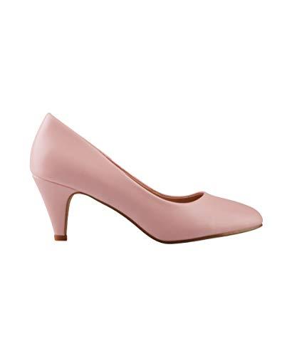 5791-PNK-7, KRISP Zapatos Tacón Salón Elegantes Fiesta, Rosa (5791), 40