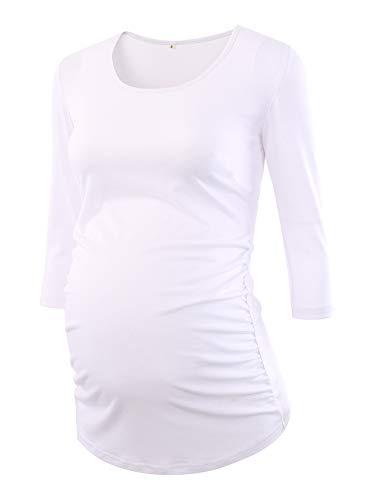 Love2Mi Damen 3/4 Ärmel Seite Geraffte umstandsshirt Top Umstandsmode Kleidung, Weiß, XL
