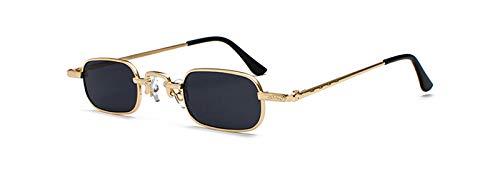 WDXDP Sonnenbrillen Kleine Schmale Rechteckige Sonnenbrille Männer Retro Klare Linse Metallrahmen Männliche Sonnenbrille Für Frauen Square BlackGold Mit Schwarz