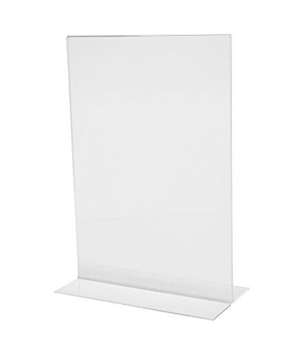 Sigel TA220 Porta-avvisi da tavolo / Porta-brochure da banco, con base a T, acrilico, per A4