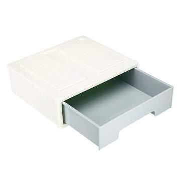 MASUNN Caja de almacenamiento de maquillaje de cajón de plástico Organizador de rejilla superior blanco Vitrina de joyería de dormitorio - C