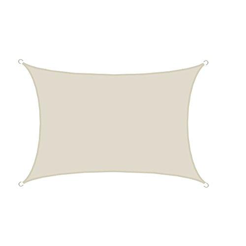 AMANKA UPF50+ Großes Sonnensegel 4x3m Polyester Rechteck Wasserabweisend UV-Schutz Garten-Segel Terrasse Balkon Beige