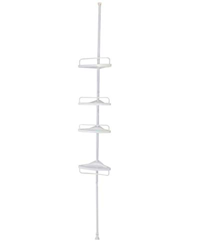 Keraiz Stella Telescopic Shower Shelf caddy bathroom corner storage unit white ST-58 White 4 Tier 70cm - 240cm