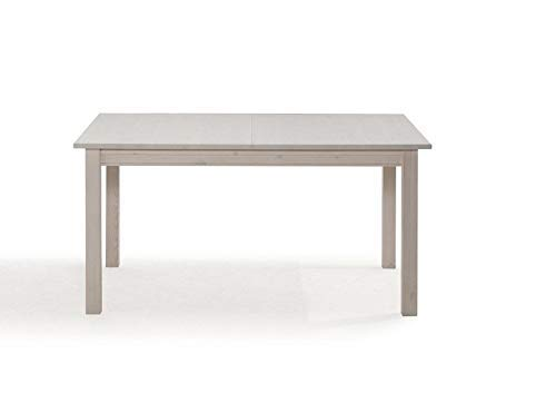 Table extensible 150-197x75cm - Bois massif de pin (Blanc ciré/Miel laqué) - BERN #408
