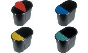 helit corbeille à papier systÚme Duo, ovale, PE, noir/rouge