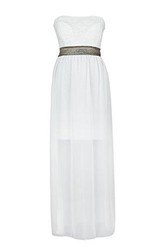 AO Luxe Robe longue bandeau Dentelle Blanc