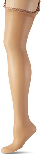 Fiore - Straps-Strumpfhose AMOUR 20 denBraun (Tan 014), Large (Herstellergröße:4) - Damen Sheer Straps Strumpfhose