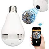 Bulb Hidden Camera for home Wireless security,Joney 960P Wifi Wireless IP Camera with Fisheye Lens 360° Panoramic for Remote Home Security System, Motion Detection (1.3 MegaPixel)