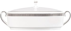 Wedgwood Vera Wang Lace Platinum Covered Vegetable Dish