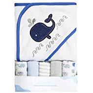 Idea Regalo - Asciugamano con cappuccio da bambino, set di asciugamani, simpatico motivo di ricamo per animali, confezione regalo 5 + 1.