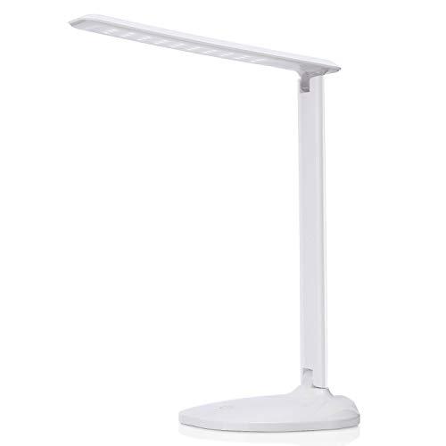 Lámpara Escritorio LED, AVAWAY 6W Lámpara de Mesa Regulable, USB Powered, 3 Niveles de Brillo Ajustable, Control Táctil para Leer, Estudio, Dormir - Blanca, con Adaptador