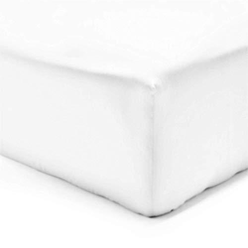 VISION Drap housse - 100% coton - Blanc - 140 x 190 cm