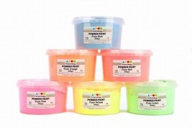 6 X 500g Tubs of Fluorescent Powder Paints