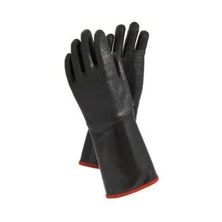 Flüssigkeitsdichter Chemikalien-Schutzhandschuh Hitzeschutzhandschuhe bis 350°C Kontakthitze - 5-Finger Neopren Arbeitshandschuhe mit langer Stulpe, auch gegen Funkenflug