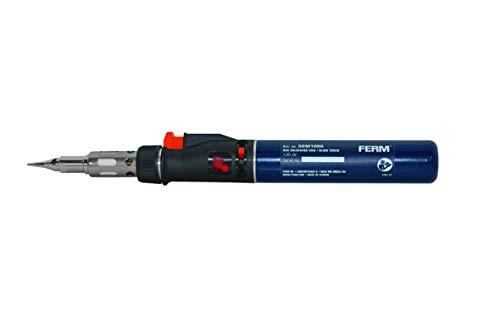 FERM Gas-Lötkolben - Butangas betrieben - 35 minuten betriebsdauer - Inkl. Lötspitze Schrägform 8mm und Lötspitze Meißel form 3,5mm