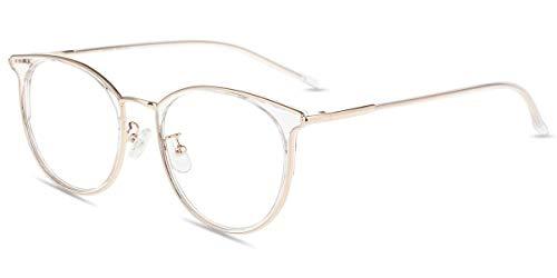 Firmoo Panto Blaulicht Brille ohne Sehstärke Damen, Herren Blaulichtfilter Computer Brille gegen Kopfschmerzen, Entspiegelte Große Brille Transparent, Rahmenbreite 135mm