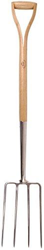 Esschert Design Heugabel, Gartengabel, Mistgabel aus Edelstahl mit Holzgriff, ca. 20 cm x 9 cm x 111 cm