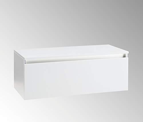 tft Mobile da Bagno Sospeso e Cassetto Soft Closing per Lavabo in Appoggio in Melaminico 100x45x37cm Ibiza Bianco