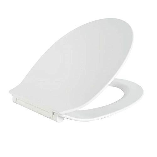 Sièges De Toilette, Standard Ultra-Mince SièGe Toilette Couvercle De Toilette avec Démontage Antibactérien à Fermeture en Douceur pour Une Toilette en Forme De O,White-42~44 * 36.8cm