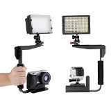 Neewer 160 LED CN-160 Dimmable Ultra High Power Panel Digital Camera / Camcorder Video Light for Canon, Nikon, Pentax, Panasonic, Sony, Samsung and Olympus + Multi-Angle Quick Flip Off Camera Flash Bracket Kit