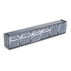 * Tilt Bin Plastic Storage System w/6 Bins, 23 5/8 x 3 5/8 x 4 1/2, Black by MotivationUSA -