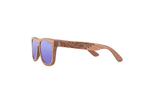 Holz Sonnenbrille aus Nussholz Wicked - schwimmt auf dem Wasser - mit blau polarisierten Gläsern mit UV400 Schutz - für Herren - mit faltbarem magnet Etui aus Papercraft Material - incl. Pflegezubehör
