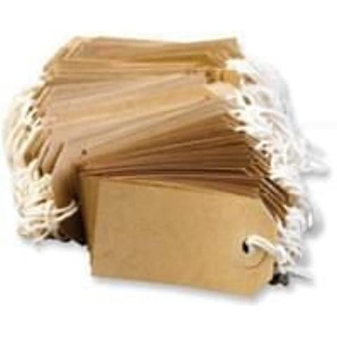100 LARGE Q Connect Brown/Buff (Manilla) Strung 134x67mm Tag/Tie On Luggage Craft Labels 5 by Q-Connect