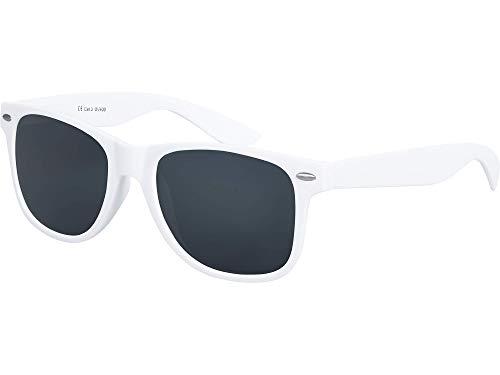 Balinco Hochwertige Nerd Sonnenbrille Rubber im Wayfarer Stil Retro Vintage Unisex Brille mit Federscharnier - 96 verschiedene Farben/Modelle wählbar (Weiß - Smoke)