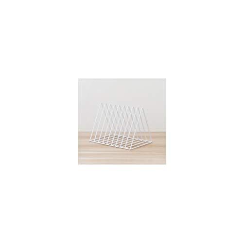 HYwot Nordic Dreieck Bücherregal, Einfache Schmiedeeisen Desktop Storage Rack Bücherregal Dokumente Magazin Aufbewahrungsbox Office Racks Schmuck,White -