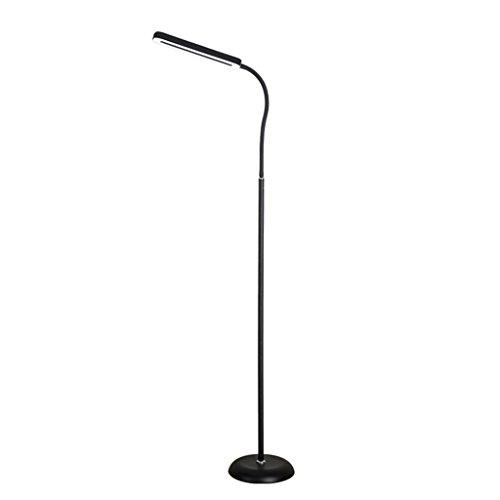 1 Moderne Touch LED Konventionelle Stehleuchte für Wohnzimmer Schlafzimmer mit Fernbedienung 2 (Color : Black-Two-color lights) -