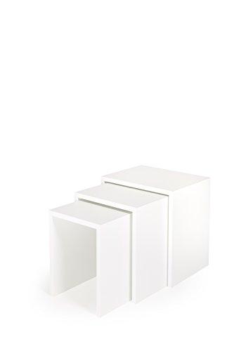 Hermesmöbel Set de 3 Tables gigognes Table d'appoint Fleurs Tabouret empilable Lot de 3 Panneaux Blanc Mat revêtu 19 mm