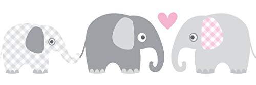 lovely label, cenefa autoadhesiva, 450 x 11,5 cm, diseño de animales con elefantes, gris-fucsia