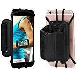 Sport Armband, 180 ° drehbarer Handy Halter Unterarm Running Radfahren Gym Jogging Armband für iPhone 4/5/6/7/7 Plus Samsung Galaxy S8 S7 S6 Edge Plus etc. (schwarz)