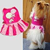 ETbotu Generic Candy Herz Kreis Muster Puppy Hund Hund Bekleidung Kleidung Hoodies Rock Kleid (Hot Pink Größe S)