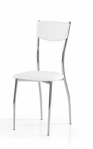 Legno&Design Lot X 2 Chaise Châssis en Acier chromé séjour Cuisine Bar Simili Cuir Blanc