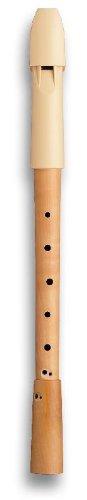 Mollenhauer 1295 Prima Alt-Blockflöte Barock mit Doppelloch - Kunststoff-Holz-Kombination: Kopf Kunststoff Beige, Unterteil Birnenholz, Natur - Zapfenverbindung mit 2 Gummiringen - Altflöte in F - Altblockflöte