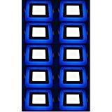#10: 16W (12+4) LED Side Blue Square Ceiling POP Panel Light 3D Effect Lighting (Double Color) Pack of 10