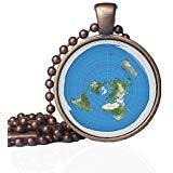 NWO Flat Earth - Colgante de tierra plana, diseño de mapa de la Tierra, color azimuthal