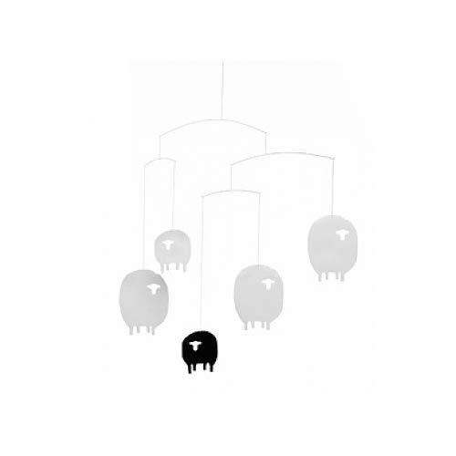 Flensted Mobiles - Schaf-Mobile - Windspiel - schwarz - weiß - 40 x 42 cm (Japan Baby-mobile)