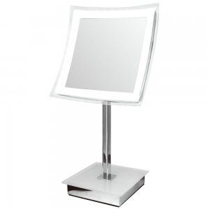 "LED Illuminated Table 12"" Mirror - 5x Magnified - Dimmable - Battery Operated produced by Meridian Lighting - quick delivery from UK."