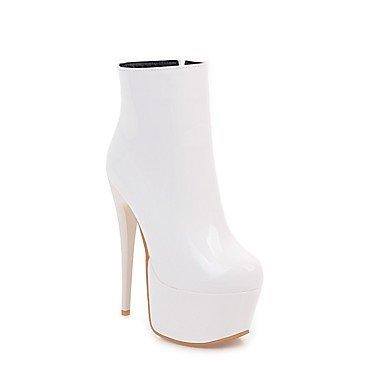 Coeur & M Femmes Bottines Bottines Cheville Hiver Hiver Faux Cuir Mariage Stiletto Blanc Noir Rouge 12 Cm Et Plus Noir