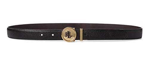 Lauren Ralph Lauren Damen Gürtel Schwarz Schwarz Einheitsgröße Gr. 90, Black-dark Brown (Ralph Lauren Leder Gürtel)
