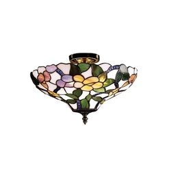 Dale Tiffany Flush (Dale Tiffany 7966/3LTF Peony Semi-Flush Mount Light, Antique Brass and Art Glass Shade by Dale Tiffany Lamps)