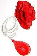 Rose Blume Clown Jumbo Wasser Kostüm zum Anstecken - Spritz-Rose - rot (Jumbo Clown Kostüm)