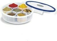 KP 4 lock space saver classics round masala / spice & candy plain big plastic food container clear  available at amazon for Rs.299