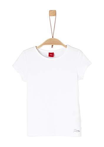 s.Oliver Junior Mädchen 54.899.32.0465 T-Shirt, Weiß (White 0100), 104 (Herstellergröße: 104/110/REG) -