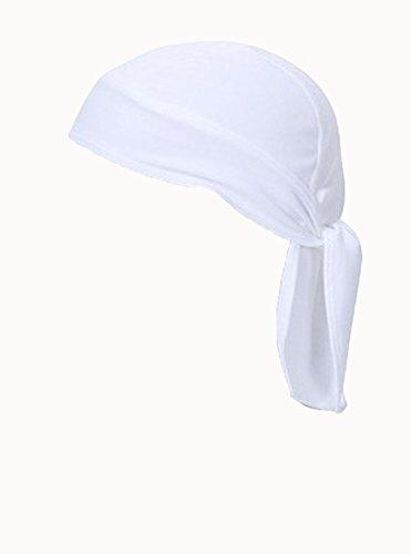 FakeFace Unisex Bandana Cap Kopftuch Kopfband Biker Hat Piratentuch in Verschiedenen Farben und Mustern Sport Fahrrad Weiß